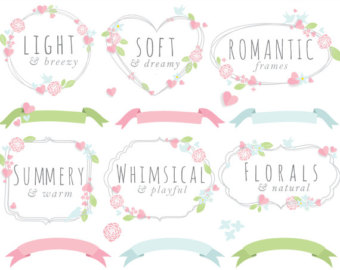 Wildflower clipart pink leaves Wildflower summer decorations floral art