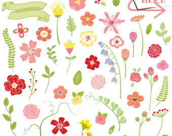 Wildflower clipart pink leaves Illustrations INSTANT Etsy Flowers DOWNLOAD