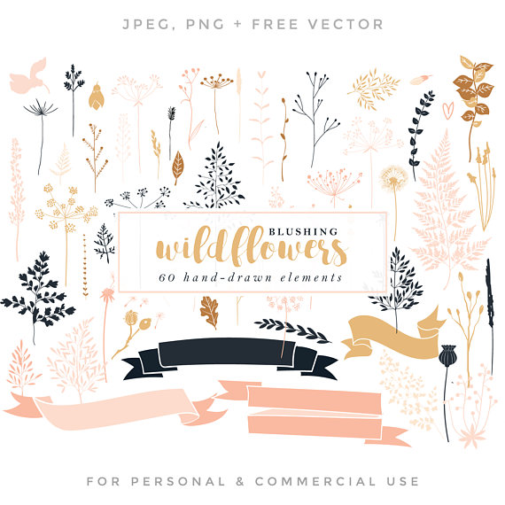 Wildflower clipart pink leaves Wildflower wedding hand  romantic