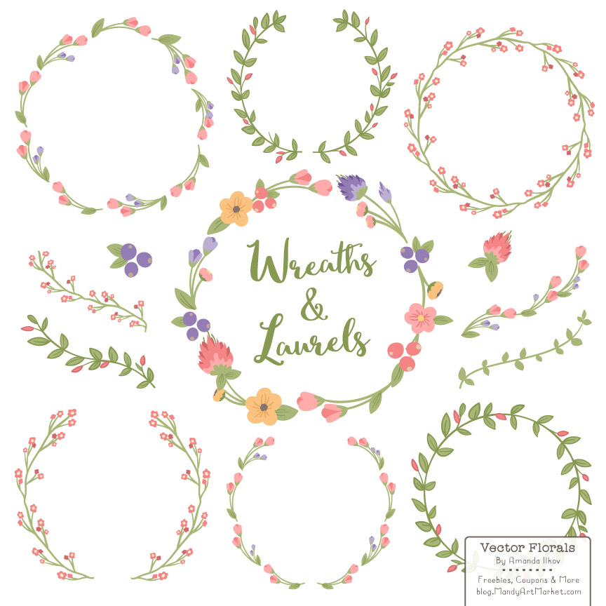 Wildflower clipart simple flower Laurels  Wreaths Floral Wildflowers