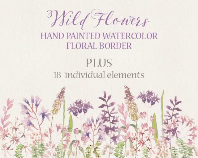 Wildflower clipart simple flower Border Wild Watercolor  Foliage