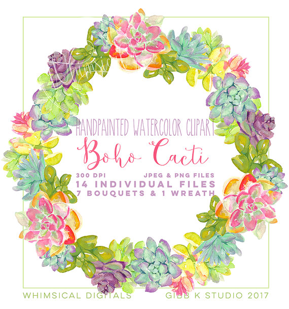 Wildflower clipart southwest Cacti Boho file clipart is