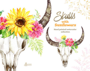 Wildflower clipart flower bouquet Skulls clipart wedding sunflowers Watercolor