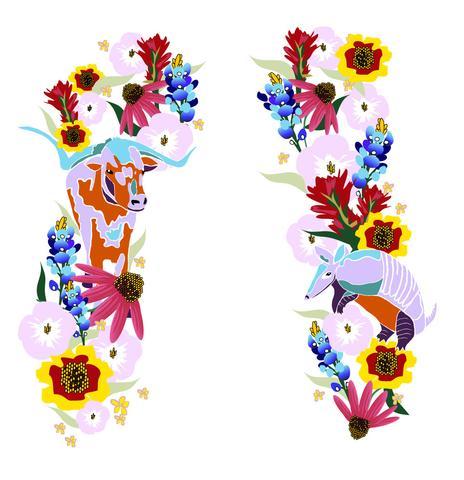 Wildflower clipart texas  Armadillo Color Wildflower Armadillo