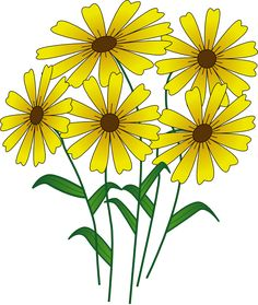Wildflower clipart yellow flower Down A clip Black royalty