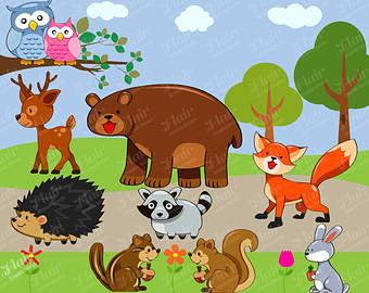 Wildlife clipart WOODLAND Digital Clipart Fox ANIMALS