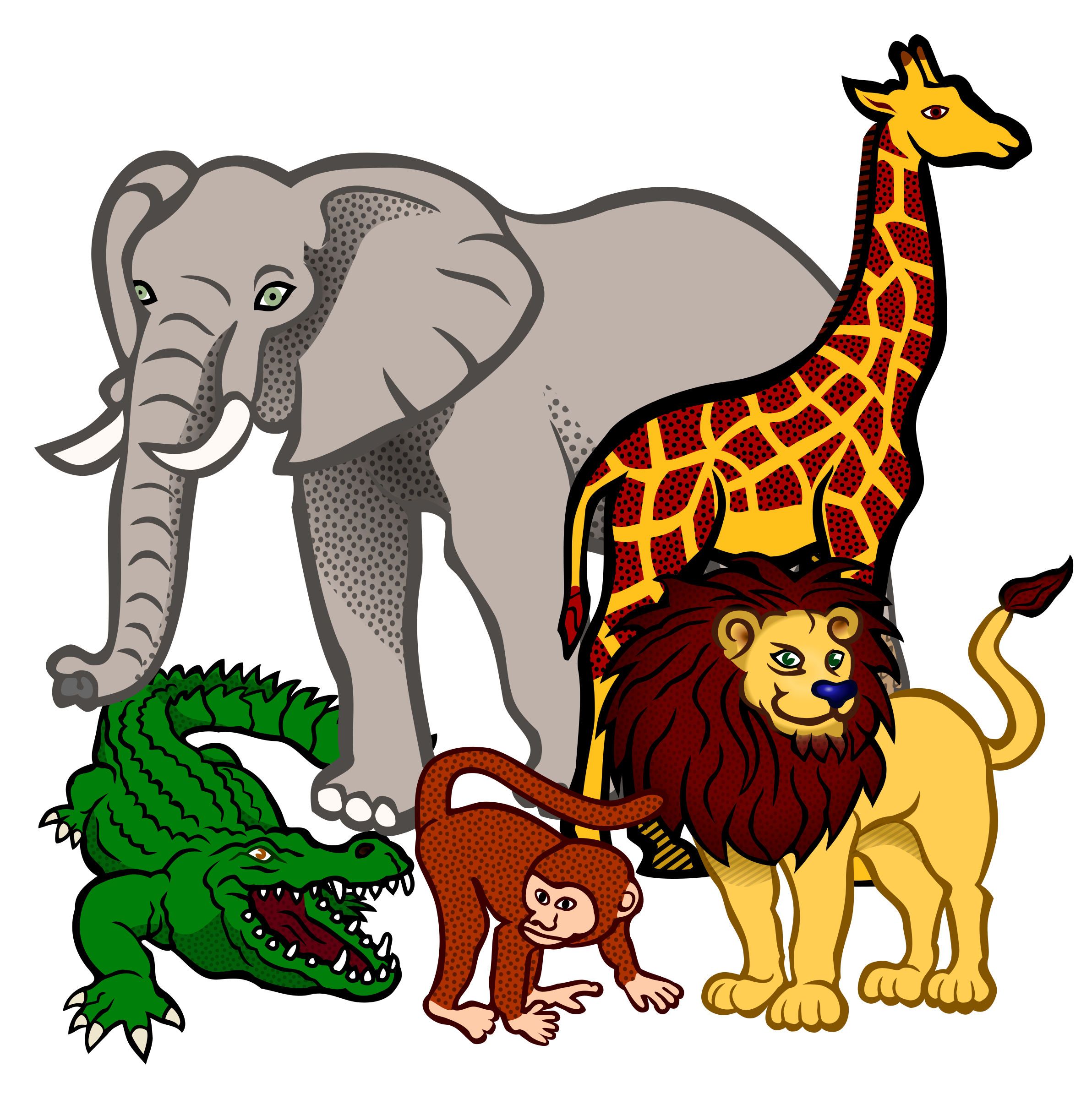 Wildlife clipart african wildlife Animals african coloured coloured animals