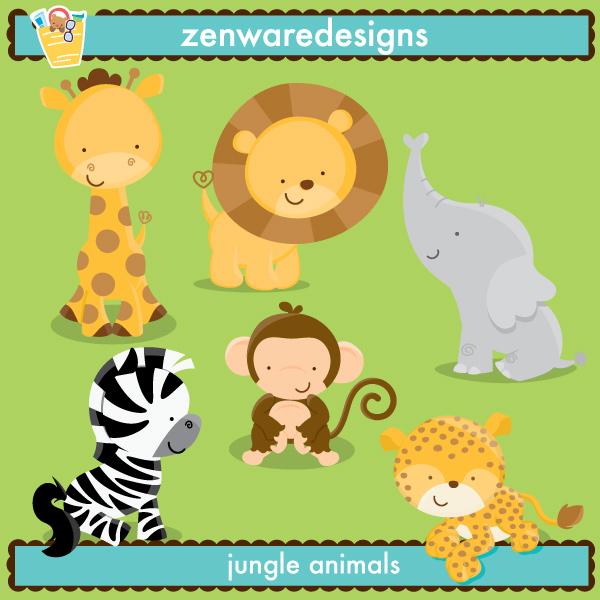 Wildlife clipart baby shower safari Illustrations Illustrations Cliparts Jungle Animals