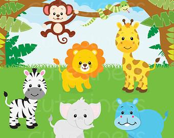 Wildlife clipart baby shower safari Baby animals shower Cute jungle