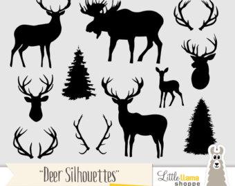 Wildlife clipart moose antler Clipart Clip Silhouette Head Art