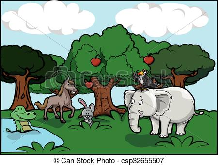 Wildlife clipart scenery  and and Forest Vector