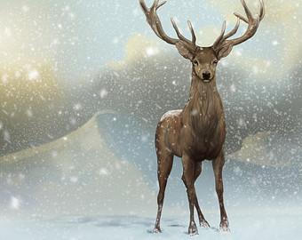 Wildlife clipart winter scene Scenery Red Art Snow Illustration