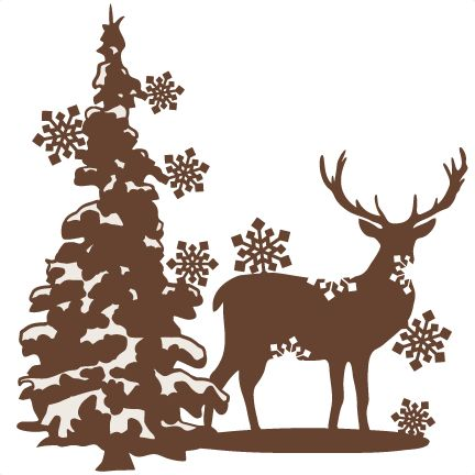 Wildlife clipart winter scene Silhouette Best clipart free Reindeer