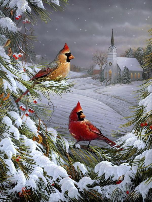 Wildlife clipart winter scene Cardinals la Pinteres… … sous