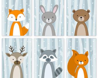 Wildlife clipart winter scene Baby Woodland Poster Cute Art