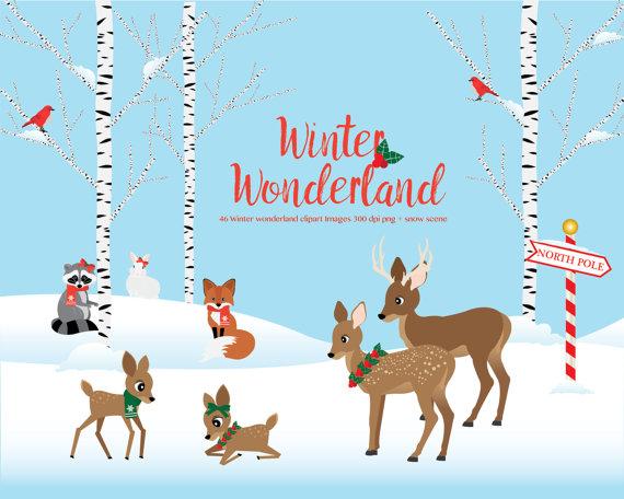 Winter clipart winter wonderland  animals scene winter Wonderland