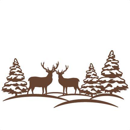 Wildlife clipart winter scene Silhouette cute Reindeer Reindeer file