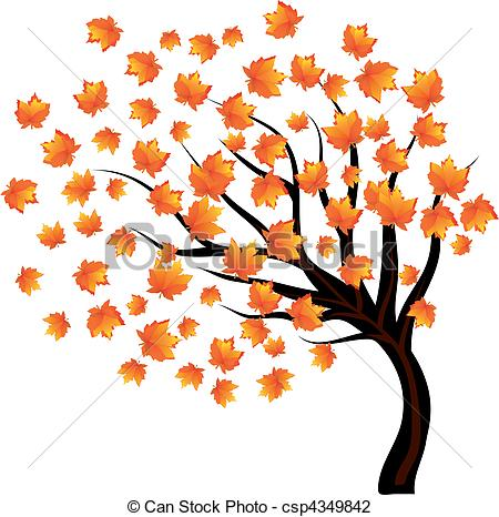 Wind clipart falling leave Illustration the on leaves tree