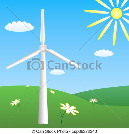 Wind clipart sunny Vector on meadow Vector Wind