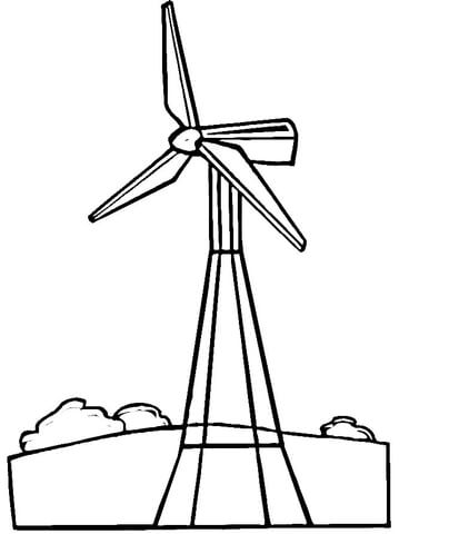 Wind Turbine clipart black and white #10