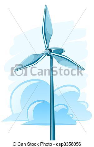Wind Turbine clipart drawing Wind generation turbine electricity Vector