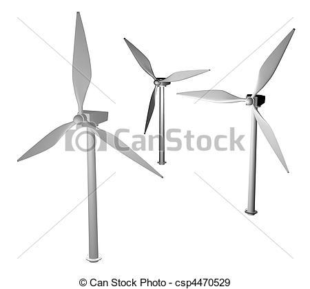Wind Turbine clipart drawing Turbine Illustration 3d of 3d