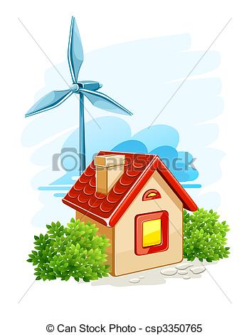 Wind Turbine clipart drawing Of electric house wind Vector