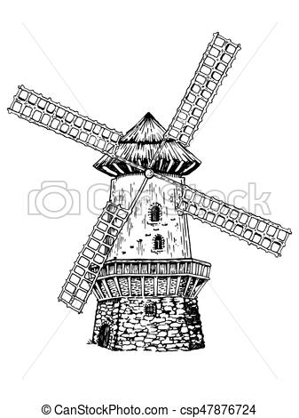 Windmill clipart old style #4
