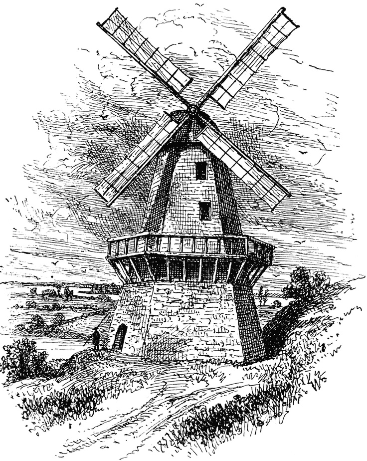 Drawn mill Vinetage Art on windmill Dutch