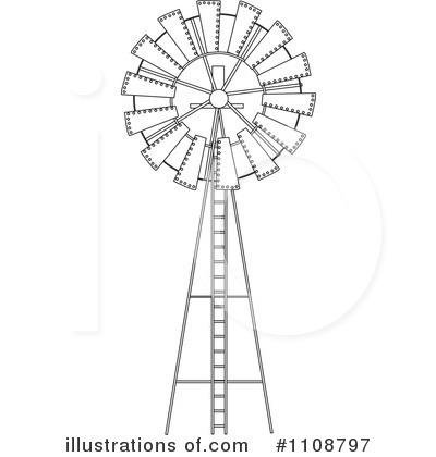 Windmill clipart outline Illustration Stock Windmill by Royalty