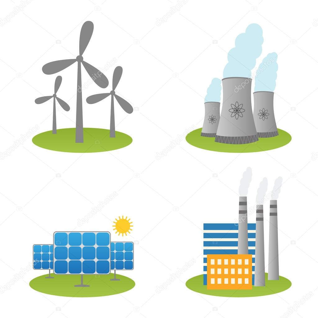 Windmill clipart power plant Power and Stock Vector nuclear