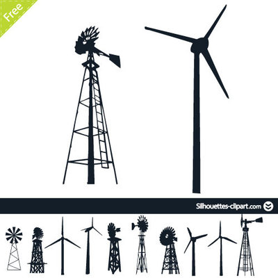Windmill clipart silhouette #9