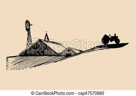 Windmill clipart village Vector drawn Vector Vector of