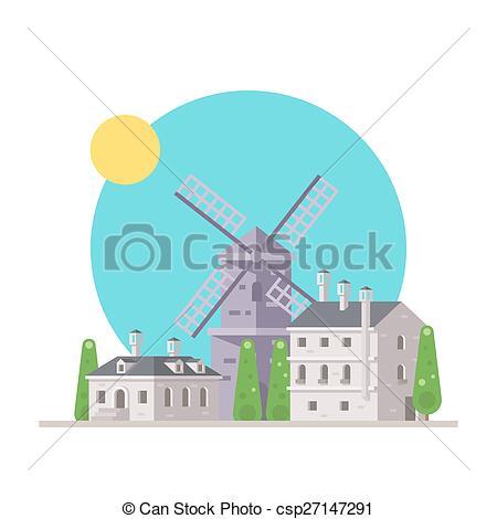 Windmill clipart village Csp27147291 design of with design