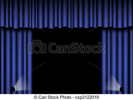 Curtain clipart blue curtain Open curtains Blue open csp3122019