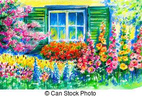 Window clipart flower bed Stock Garden Flowerbed in with