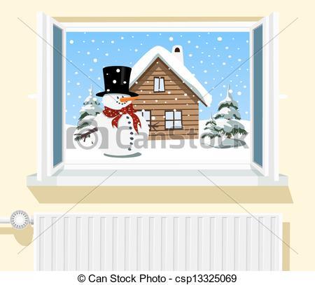 Window clipart scene Scene Winter Clip Art opened