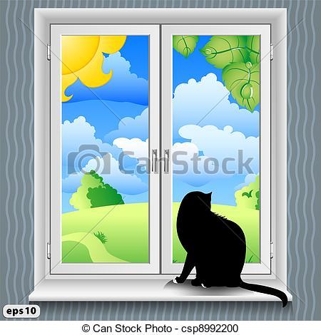 Window clipart window sill Cat A Vector  summer