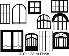 Door clipart square window Silhouette Window  vector