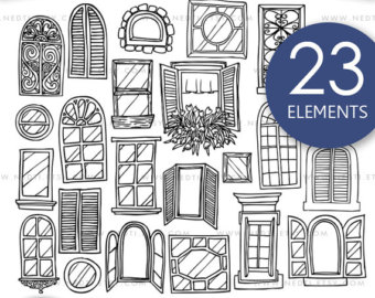 Windows clipart house furniture Doodle Digital by Hand Design