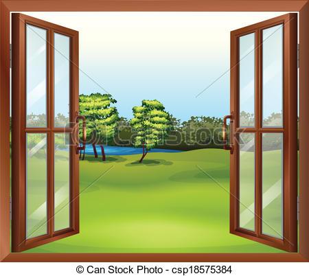 Window clipart wooden window Wooden open open window Vector