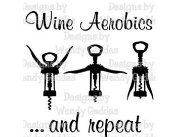 Wine clipart aerobic Aerobics svg Digital DOWNLOAD Etsy