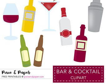 Wine clipart cocktail hour Art Clipart Etsy Use Cocktail