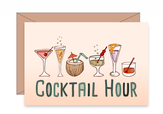 Wine clipart cocktail hour Commercial Retro  file hand