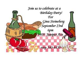 Wine clipart italian dinner Summer birthday Italian Invitations Party