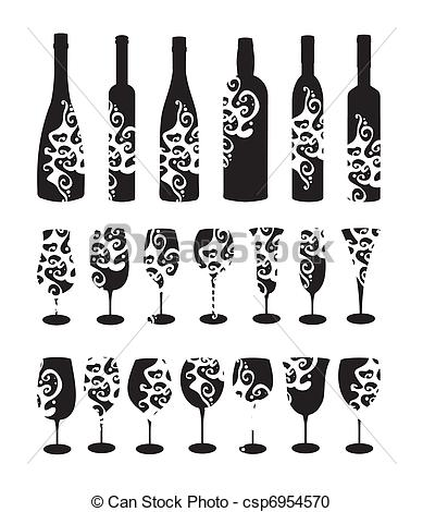 Wine clipart line Six glasses Wine glasses for
