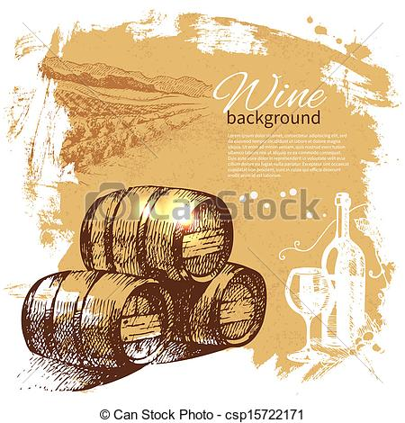 Wine clipart retro Illustration Hand Vectors vintage of