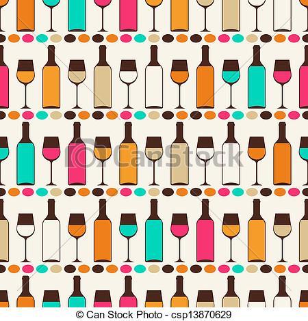 Wine clipart retro Of bottles Illustration pattern Seamless