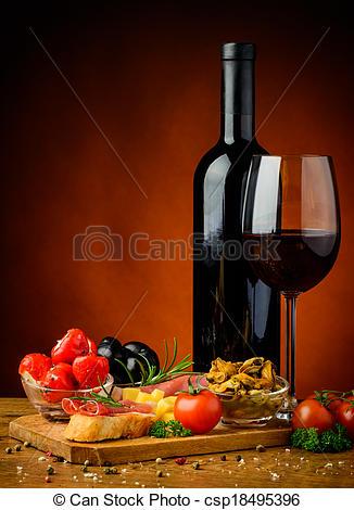 Wine clipart tapa Stock Spanish wine and Spanish