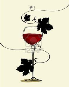 Wine clipart tapa & food drawn vine red